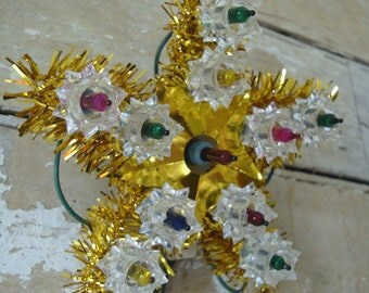 Vintage Small Tree Topper  Mixed colored lights Sweet