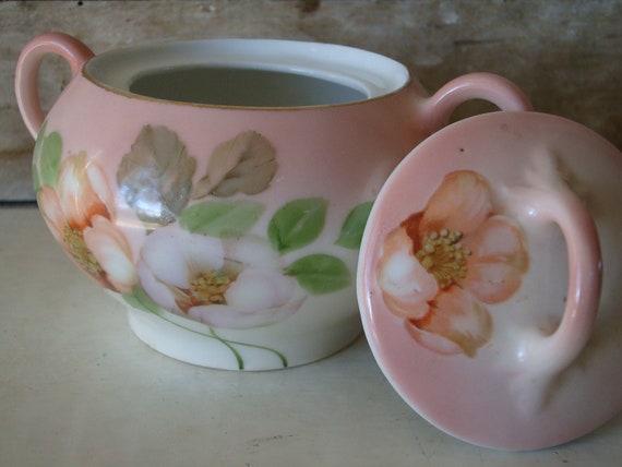 Vintage Sugar Bowl Apple Blossoms Bavaria