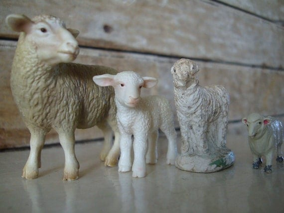 Vintage Sheep for Your Private Collection Nicely Detailed 1960s Set of 4