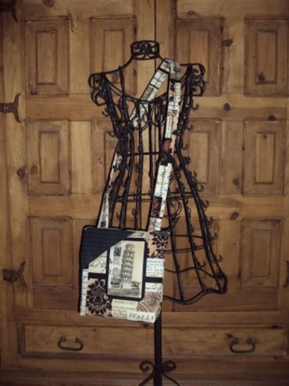 Italian Print Crossbody Bag