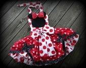 Girls Red Minnie Halloween Costume, Ruffle Poof Dress, Applique Minnie Silhouette Twirl Skirt- Halter Top, Sizes 12 month through 8