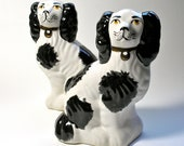 1 Pair of Vintage Staffordshire-Style Spaniel Dogs Made in England