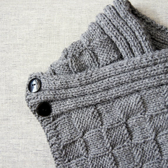 Hand Knit Scarf in Silver Gray, The Checkmate Scarf, Ready to ship