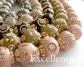 10pcs -Handmade Nepal style bead--Clay with brass, Crystal rhinestone, in round shape