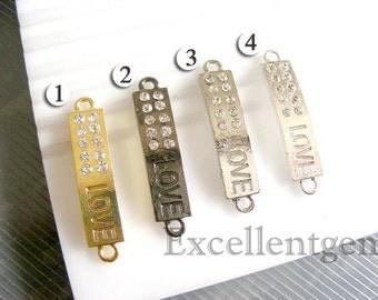 5pcs Bulk Price,Curver metal bracelet connector bar with high quality rhinestone