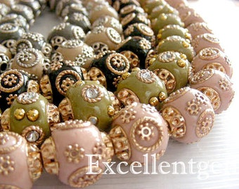 10pcs -Handmade Nepal style bead--Clay with brass, Crystal rhinestone, in round shape