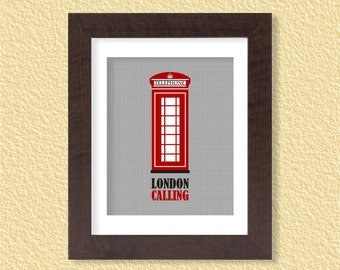 London Calling Phone Booth Wall Art Printable - 8x10 - England Britain Red Instant Download Digital Poster Print Typography