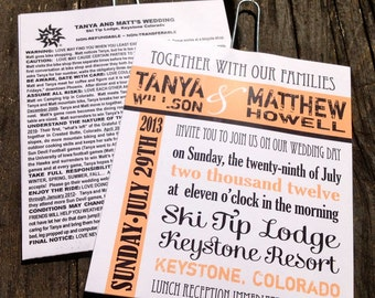 Ski Lift Ticket Wedding Invitations (Sample) - Starts at 5.25 each - Rustic Mountain Invites - FREE SHIPPING