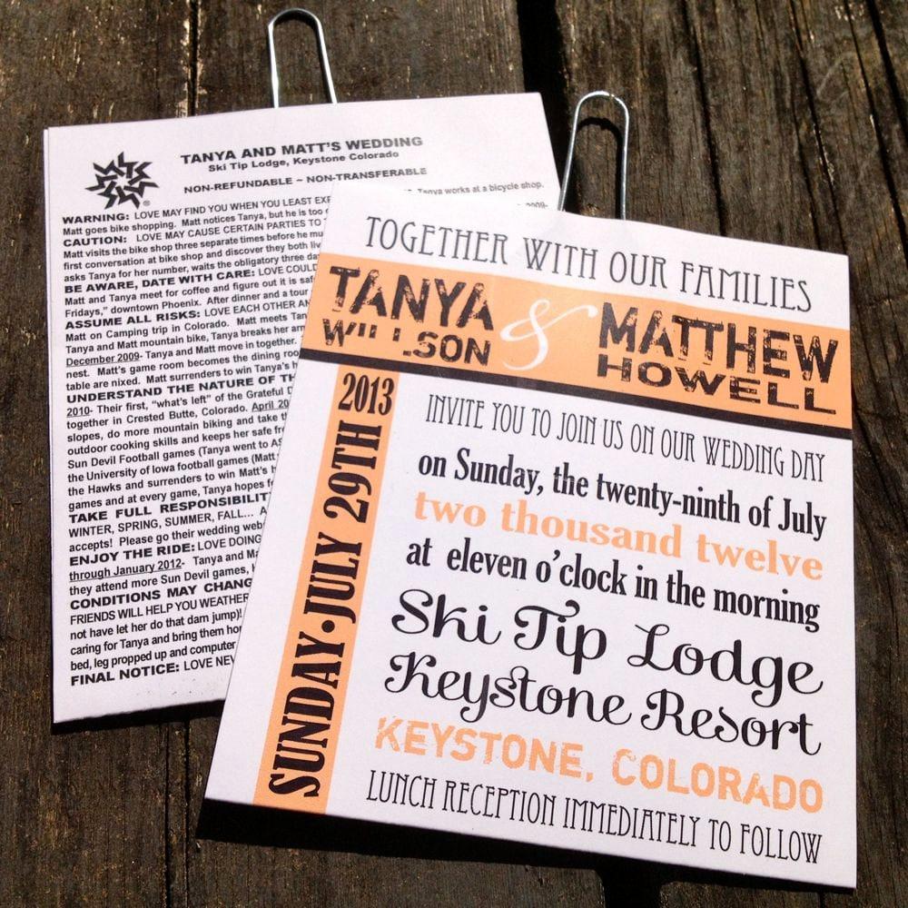 ski lift ticket wedding invitations sample starts at 5 25
