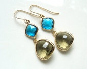 Blue and olive green glass gold dangle earrings.  Everyday.  Bridal.  Bridesmaids. Wedding.  NEW ITEM.