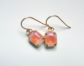 Peach Sabrina opal vintage glass dangle earrings on gold french wires.  Bridal earrings.  Bridesmaids earrings.  Wedding jewelry earrings.