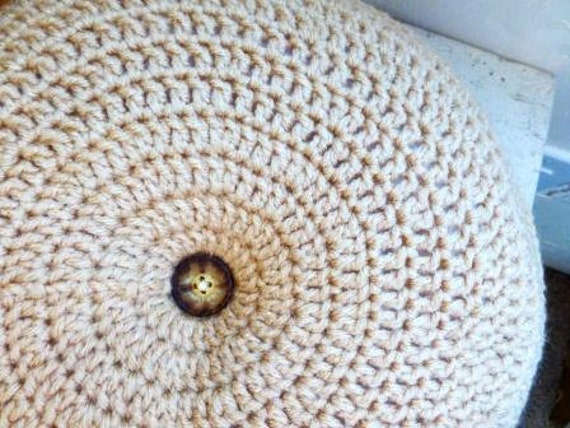 Crochet throw pillow, round pillow, tan, tufted, home decor, rustic decor, granny chic, cottage chic, ready to ship, handmade