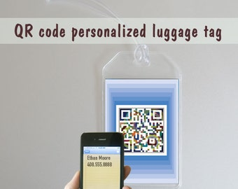 Custom personalized luggage tags - name tags - blue or green - QR code square art - set of two -  travel, vacation, holiday gift