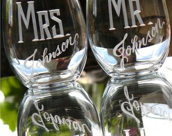 Set of 2-21oz MR & MRS Stemless Wine Glasses