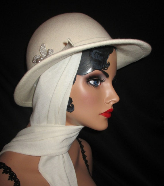 STREET SMART - Ivory Wool Fedora With Tie Scarf and Pearl Flower Accent, Classic 80's Betmar of New York