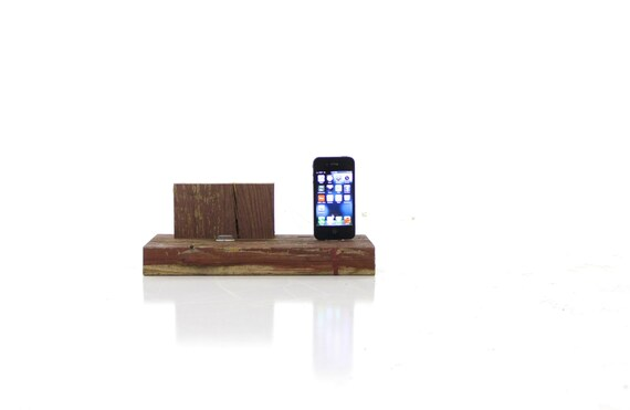 Iphone and iPad dock made from repurposed wood... handmade by Tangleandfold