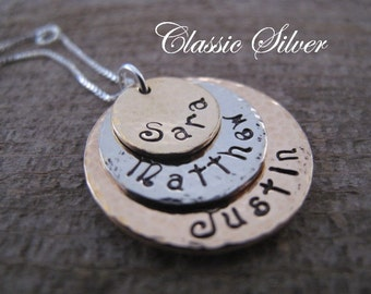 Hammered and Cupped Custom 3 Stack Family Name Necklace in Bronze and Silver