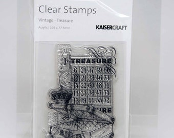 SALE KaiserCraft Clear Stamps -- Acrylic -- Vintage Treasure Bingo Suitcase Crown
