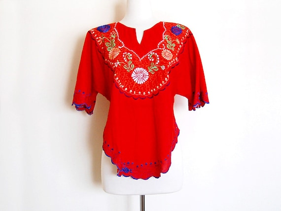 Bright Red Vintage Ethnic Boho Mexican Embroidered Floral Blouse Top