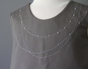 Pearl necklace pinafore top  ready to ship grey  hand embroidered and beaded (only 2 left)
