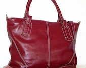 """Red Wine Leather Tote, Handbag, Cross-body Bag,  Nora in Red-Wine, fits a 17"""" laptop"""