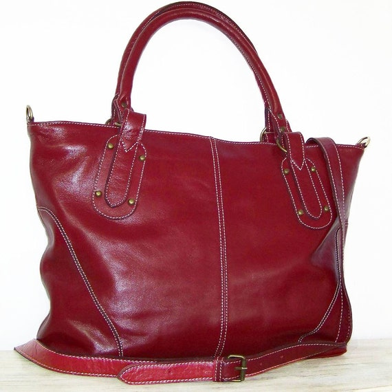 "Red Wine Leather Tote, Handbag, Cross-body Bag,  Nora in Red-Wine, fits a 17"" laptop"