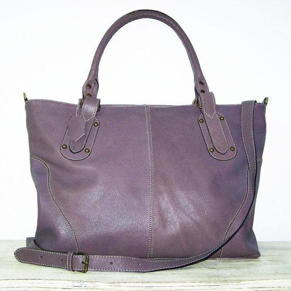 "SPECIAL OFFER Mauve Leather Tote / Handbag / Crossbody / Bag / Nora XL fits a 17"" laptop"