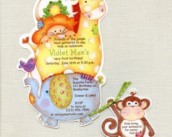 Personalized and Handcut Party Invitations - Birthday Party Invitation - Jungle Animal Invitation - Zoo Party Invitation - Set of 20