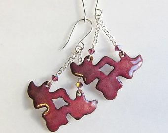 Art nouveau dangle earrings Enamel bohemian jewelry Wine burgundy wing flower drop earrings One of a kind
