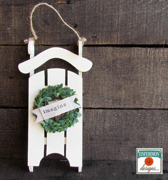 Sled w/ Mini Boxwood Wreath Ornament