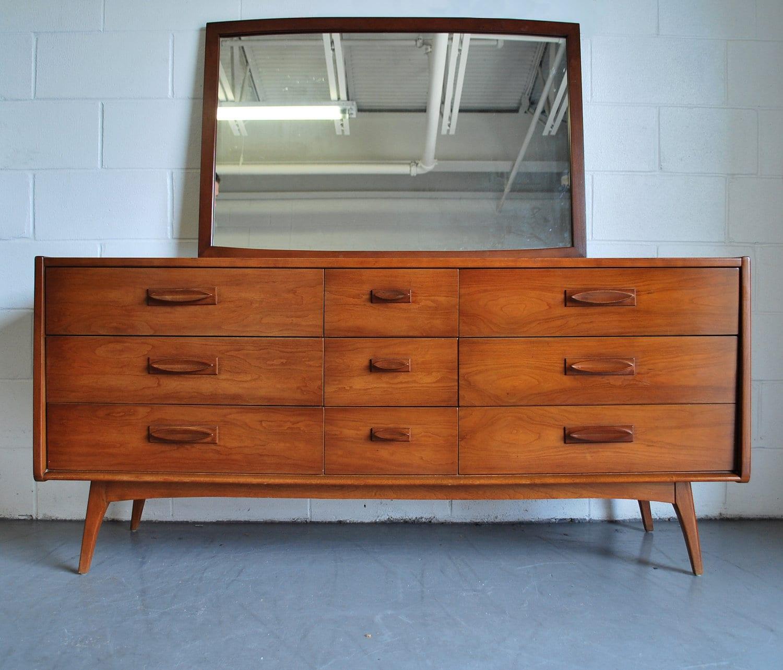 Danish mid century modern dresser credenza with mirror for Mid century modern bedroom furniture