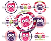 "Cute Fall Owls Bottle Cap 1"" Circles Collage Image Set Digital Graphics - NO.187"