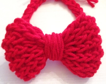 Knitted baby red bow tie