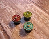 2 Miniature Knobs Small brass bullseye style for or jewelry boxes / accents B-24