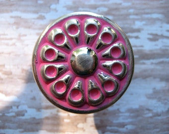 2 Mid Century Silver Knobs Pictured in Hot Pink Vintage Retro Round Drawer Pulls for your Furniture Drawers or Cabinets