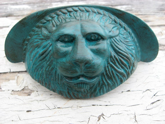 Lion Face Patina Turquoise Blue Aged Vintage Thick Brass Drawer Pulls Handles for Dresser or Cabinet Set of 2