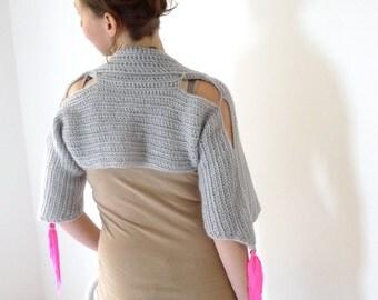 light gray mohair shrug - crochet clothing - modern bohemian fairy women - 3/4 bell sleeves, open shoulders, neon pink tassels - size S to M