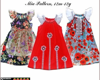 Mia PEASANT DRESS PATTERN + Free Mother-Daughter Apron Pattern, 3 sewing patterns in one, Girls , Childrens Sewing Patterns, pdf, tutorial