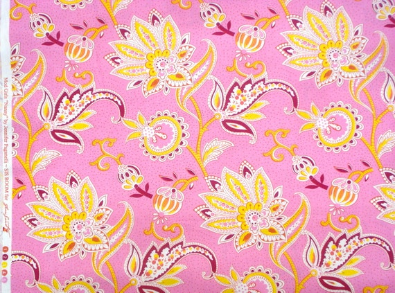 SALE : Mod Girls Nanny pink yellow Jennifer Paganelli Free Spirit fabric FQ or more