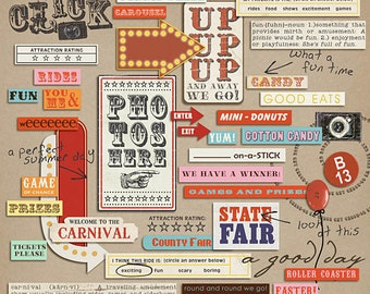 Vintage Carnival:  Word Art - Digital Scrapbooking Elements  INSTANT DOWNLOAD