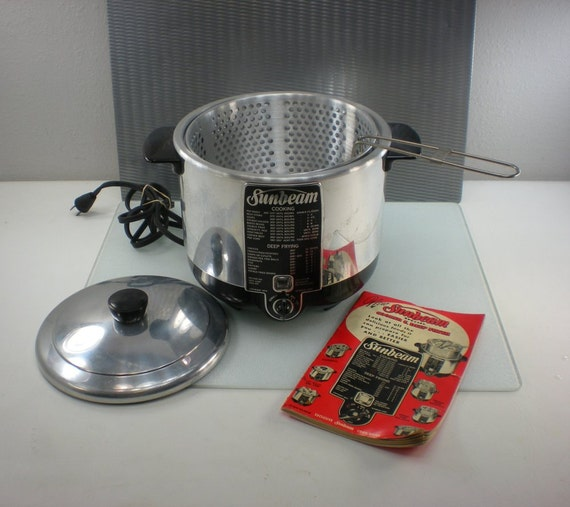 1950s Sunbeam Electric Cooker Deep Fryer with Basket and Booklet