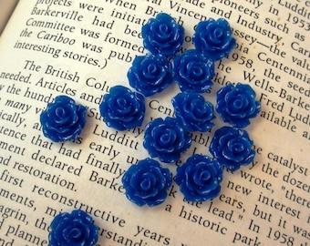 Dark Blue Resin Flower Cabochon 10mm