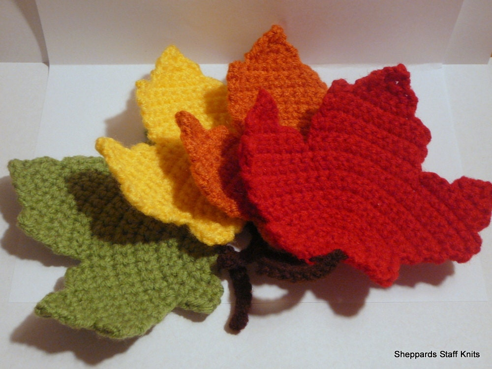 Free Maple Leaf Potholder Crochet Pattern : Crocheted Coasters Red Orange Yellow Green Maple Leaves