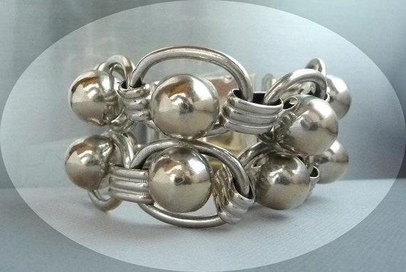 Ball & Chain Extra Wide Bracelet in Silver Tone - Modernist Style