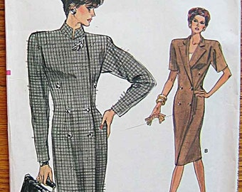 Vintage 80's Misses' Straight Dress and Top, Vogue 7061 Sewing Pattern UNCUT Sizes 6-8-10
