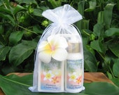 PLUMERIA Body Butter (2 fl oz) and Soap, with optional Gift Bag, Flower & Tag. Made in Hawaii.