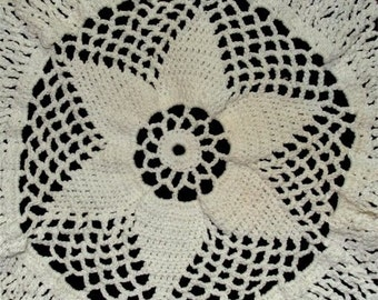 Star Pattern HANDMADE Crochet DOILEY All White