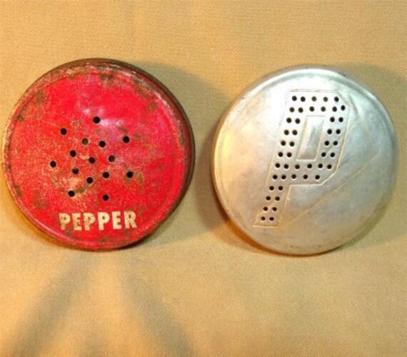 2 PEPPER Shaker LIDS Tops from 1940's for JADITE Range Shakers