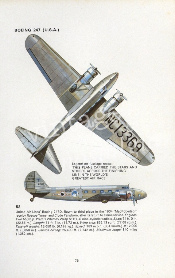 Reserved for Natalie  vintage PLANE print - BOEING 247 - vintage airplane, aviation, flying, flight