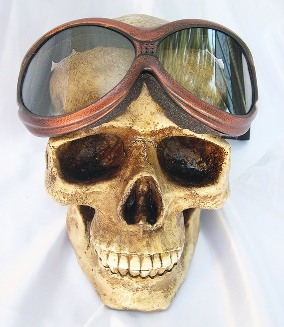 STEAMPUNK GOGGLES-Copper Rust Distressed Look Heavy Duty Over-sized 'Over Glasses' Cyber-Techno SWAT Tactical Force Burning Man Goggles